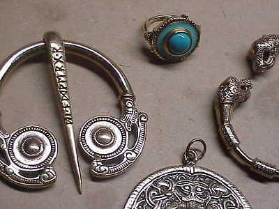 #910 Lot 4 Roman Bronze Jewelry Museum Bracelet Sterling Ring Pendant Toga Brooc
