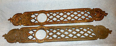 2 Large ANTIQUE Brass/Bonze? ORNATE DOOR KNOBS BACK PLATES  22 inches