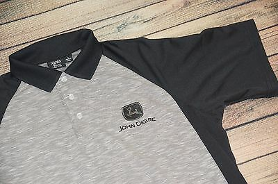 Brand New John Deere  (Large) JD Polo Shirt Black/Gray JD Tractor