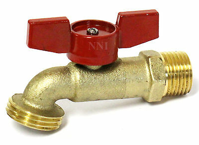 "1/2"" MIP x 3/4"" GHT Brass Hose Bibb Ball Valve Quarter Turn 200WOG"