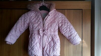 Next girls padded jacket with hood and fleece lining. Cute coat fab condition