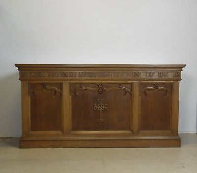 Solid Oak Gothic Church Alter Table Sideboard Kitchen Island Shop Counter