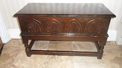 Beautiful Small Antique Carved Oak Coffer / Slipper Box / Table