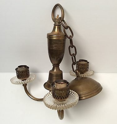 Antique Brass Art Deco Style 3 Light Chandelier