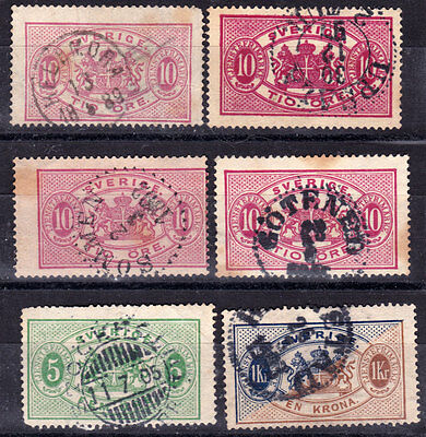 SWEDEN-Lot early OFFICIAL stamps/10 ore-shades/,canceled