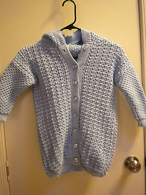 Baby suit blue handmade knit sweater pouch snow winter cold bundle gift