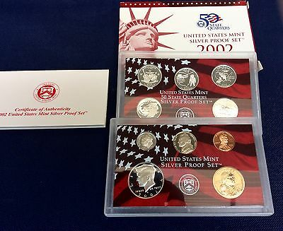 2002-S state Quarters Silver Proof Set With Box & COA