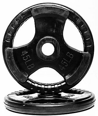 Fitness Solutions- 45 LB. Rubber Coated Grip Olympic Plate Weights-Single Plate