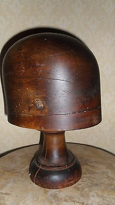 Antique Wood Hat Stand / Wig Stand On Plinth