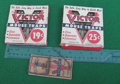 Vintage 1950's Victor Mouse Trap / Kill Traps in Original Packaging  LS/NR