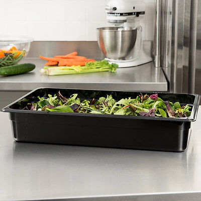"Cambro (14Cw-110)  Hot & Cold Food Pans, Full Size 4"" Deep Black"