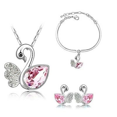 Silver Plated Pink Crystal Swans Necklace Bracelet And Earrings Set