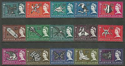 Solomon Islands Sc #149a-166a Decimal Surcharge set Sideways Wmk MVLH, CV $34.60