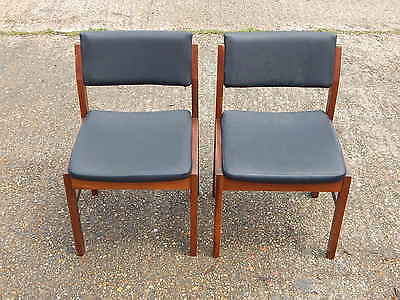 2x mid century solid teak wood dining chair chairs in black - vinyl upholstered
