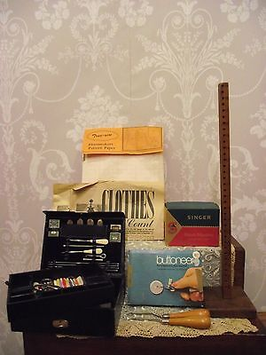 Vintage Job Lot Of Sewing Items - Sewing Case/buttoner/shirt & Hem Markers Etc