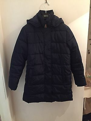 M&S Padded Navy Coat & Detachable Hood With Stormwear. Age 11-12 Winter/school