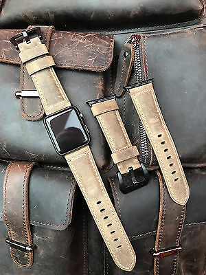 Brown Leather Watch Strap Band For Apple Watch 42mm Series 1 2 Black Fixings T3