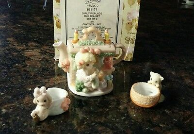 Precious Moments Girl Mini Tea Set with kitten and puppy 611174 with box