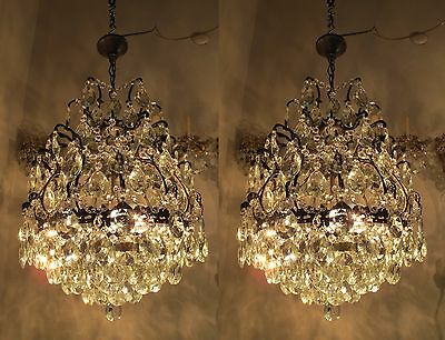 Pair of Antique Vnt French Cage Style Crystal Chandelier Lamp 1940s 16in dmtr