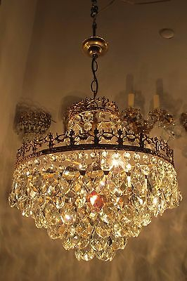 Antique Vnt French HUGE Basket Style Crystal Chandelier Lamp 1940's 16in dmter*-