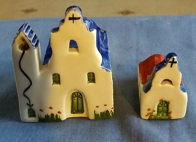 Ceramik vintage Greek hand made painted collectable miniature Greek Churches.