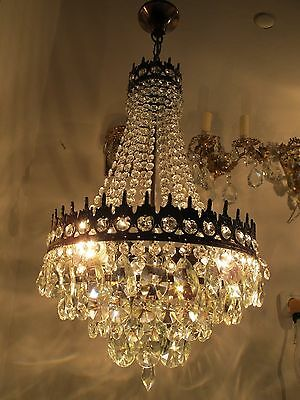 Antique Vnt French HUGE Basket Style Crystal Chandelier Lamp 1940's 14in dmtr-