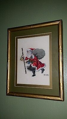 "Vintage Finished Completed Cross Stitch  Santa Gold Framed and Matted 9""×11"""