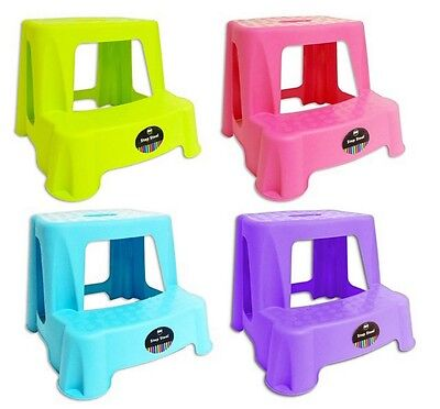 Brand New Plastic 2-Step Small Sturdy Foot Step Stool - Assorted Colour