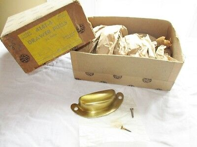 "17 NOS Antique Safe Padlock & Hardware Co. Brass Drawer Pulls, 3-3/4"" w/Screws"