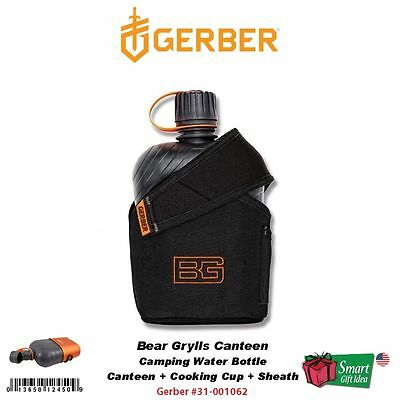 Gerber Bear Grylls Canteen+Cooking Cup+Sheath, Camping Water Bottle #31-001062