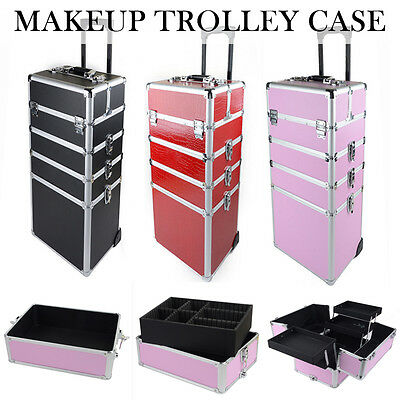 Fashion Lady Girl Travel Storage Beauty Case Box Trolley Organizer Suitcase