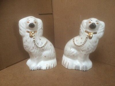 Pair Vintage Retro Royal Doulton Staffordshire Spaniels Mantle Dogs