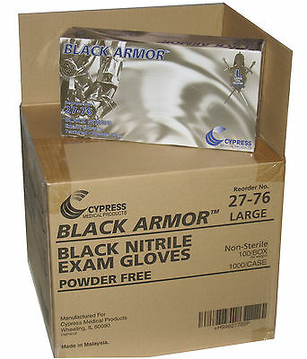 BLACK ARMOR Nitrile Disposable Glove Case of 1000 Large Powder Free