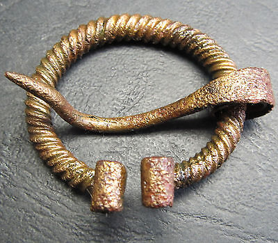 Ancient Bronze Viking FIBULA (Z1). Cleared.