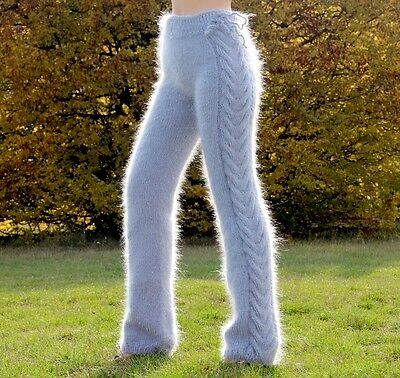 SUPERTANYA GREY hand knitted mohair pants fuzzy trousers fluffy fashion leggings