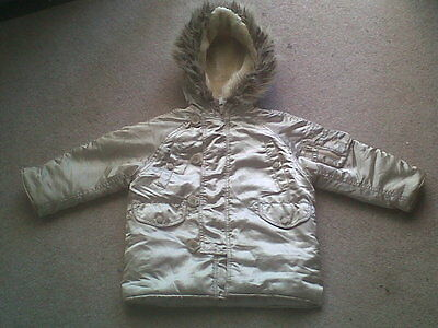 Kids aged 2 - 3 years girls hooded gold zip up winter coat jacket by ladybird