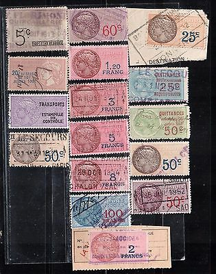 French stamps, revenue timbre, 25c to 100fr collection, used