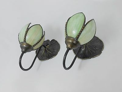 Fine Pair Of Antique Arts & Craft Wall Lights Slag Glass Shades Water Lilies