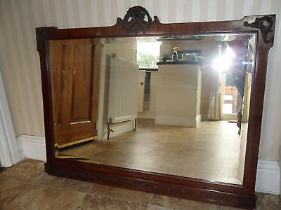 Antique Mahogany Overmantle Mirror With Scrolled Detailing