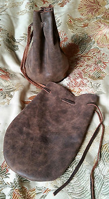 leather dice coin bag pouch medieval renaissance brown drawstring