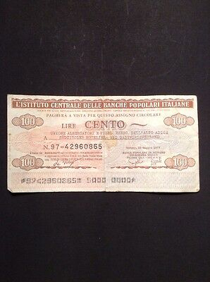 Old Italy One Hundred 100 Lire Banknote Collectable Vintage Paper Money