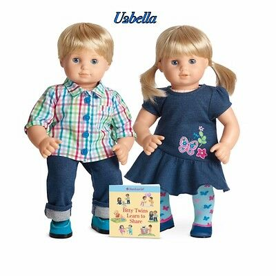 American Girl Bitty Twins Blue Eyes BLONDE HAIR,BOY & GIRL Outfit Book NEW BABY
