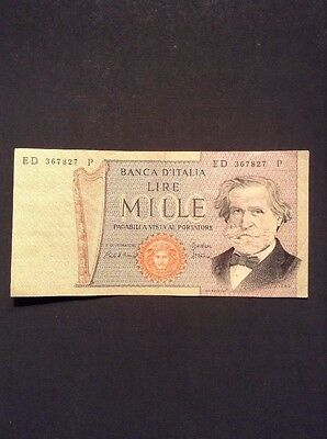 Old Italy One Thousand Lire Banknote Collectable Vintage Paper Money