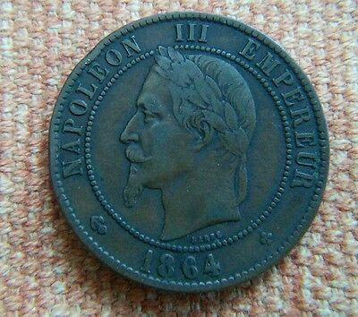 Antique DIX 10 CENTIMES Napoleon III Coin From France Dated 1864.