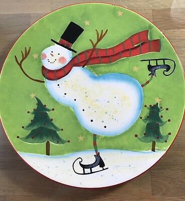 "Certified International By Susan Winget Holiday Christmas Snowman 11.5"" Platter"