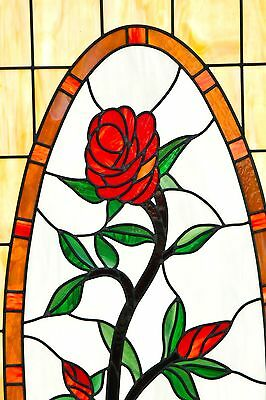 "Huge Stained Glass Window with Rose - 73"" x 31 1/2"" - Beautiful Piece"