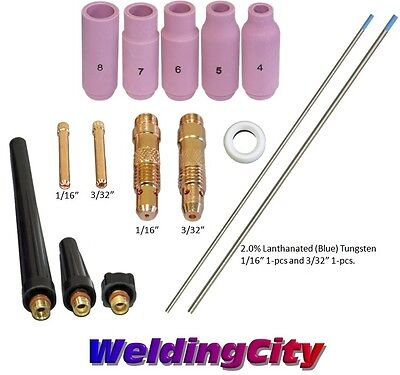 TIG Welding Torch 17/18/26 Kit 1/16-3/32 Collet-Tungsten (Blue) T56B | US Seller