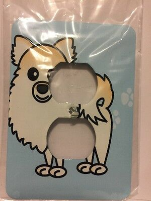 3d Rose Two Plug Outlet Cover Cream Cute Pomeranian