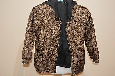 Girls Black & Leopard Print Reversible Jacket From River Island Size 9 Years