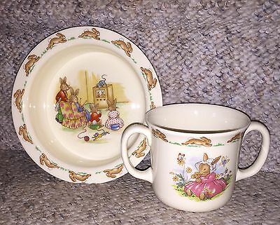 Vintage Royal Doulton Bunnykins Child's Set~Two Handled Cup, Bowl~Great Conditio